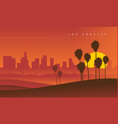 Los angeles skyline during sunset usa vector