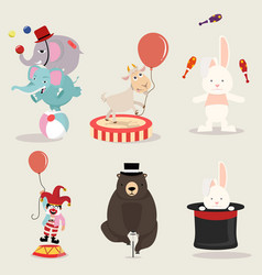 lovely circus characters collection vector image