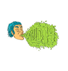 Man coughing covid19 19 grime art vector
