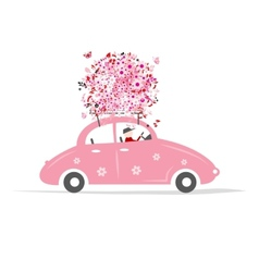 Man driving pink car with floral bouquet on roof vector image
