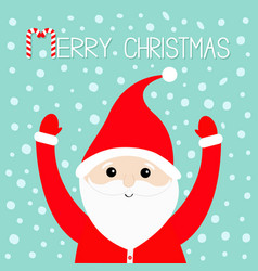 merry christmas candy cane santa claus wearing vector image