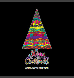 merry christmas card with creative christmas tree vector image
