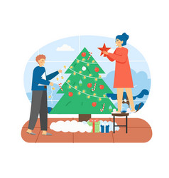 merry christmas scene happy couple decorating vector image