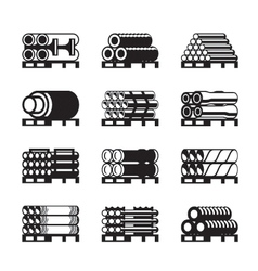 Metal plastic and rubber pipes in pallets vector