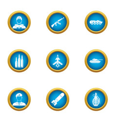 Military takeover icons set flat style vector