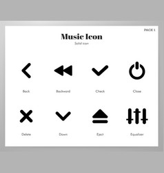 Music icons solid pack vector