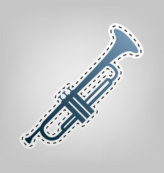 Musical instrument trumpet sign blue icon vector