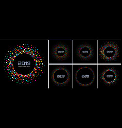 new year 2019 card confetti backgrounds set vector image