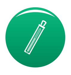 Old thermometer icon green vector