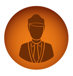 Orange emblem guard person icon vector
