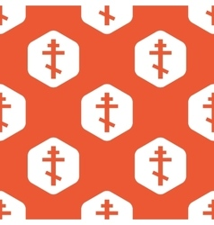 Orange hexagon orthodox cross pattern vector