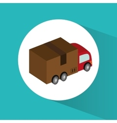 Package and truck of delivery design vector