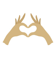Palm your hand with crossed heart shape vector
