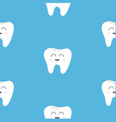 pattern seamless tooth health cute funny cartoon vector image