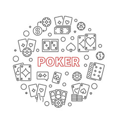 poker card game round concept line vector image