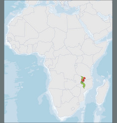 Republic malawi location on africa map vector