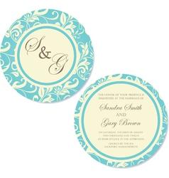 Round wedding invitation blue vector