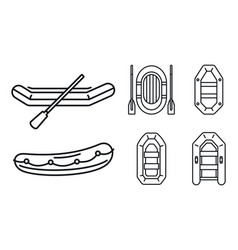 Rubber inflatable boat icon set outline style vector