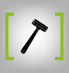 safety razor sign black scribble icon in vector image