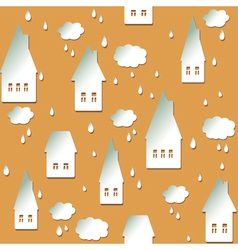 Seamless background with houses clouds and drops vector image