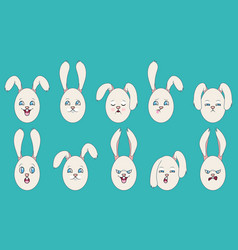 Set of emotions of easter eggs with ears vector
