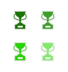 Set of paper stickers on white background football vector