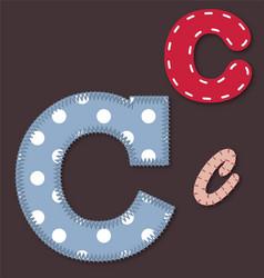 set stitched font - letter c vector image