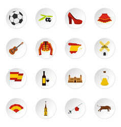spain travel set flat icons vector image