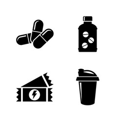 Sport nutrition supplements simple related icons vector