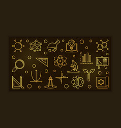 stem concept golden outline horizontal vector image