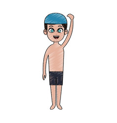 swimmer cartoon icon image vector image