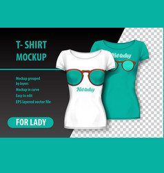 T-shirt mockup with glasses and funny phrase in vector