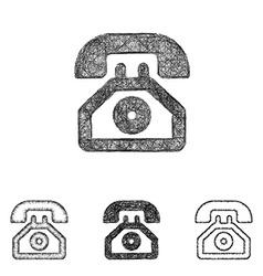 Telephone icon set - sketch line art vector image