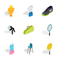 Tennis game icons isometric 3d style vector