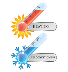 Thermometer air conditioning and heating vector
