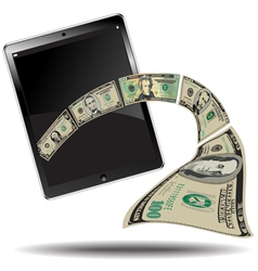 Touch pad with money vector