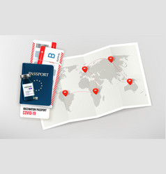 Travel in covid-19 pandemic with paper map id vector