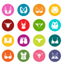 underwear types icons set colorful circles vector image