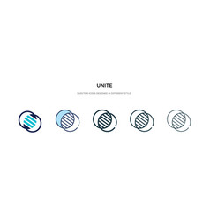 Unite icon in different style two colored and vector