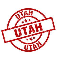 Utah red round grunge stamp vector