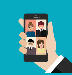 video conference from smartphone vector image
