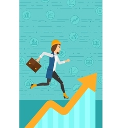 Woman running on growth graph vector