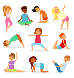Yoga kids young child yogi character vector