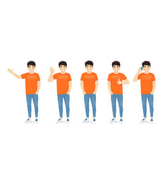 Young asian man in casual clothes set vector