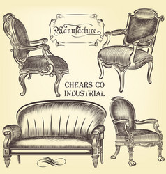 antique set of hand drawn chairs in vintage style vector image