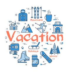 blue winter vacation concept vector image vector image