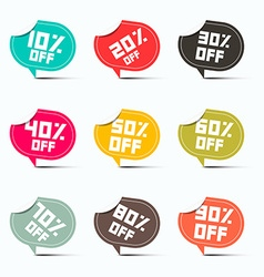 Colorful Paper Discount Labels Set vector image