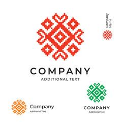 ethno folk ornament logo modern identity brand vector image
