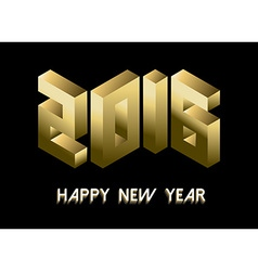 New Year 2016 gold isometric 3d greeting card vector image