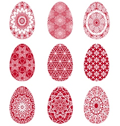 Red Easter eggs with floral pattern vector image